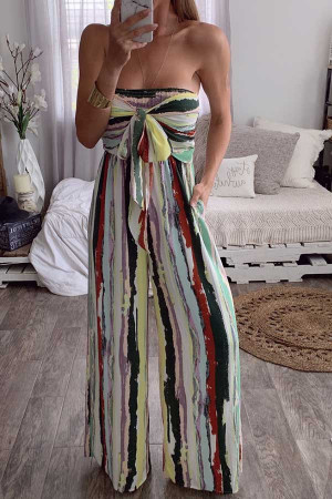 Bandeau Multi-color Print Jumpsuit