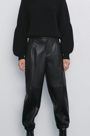 Black Elastic Waist PU Pants