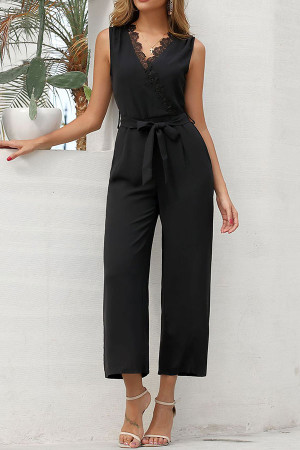 Black Lace Belted Jumpsuit