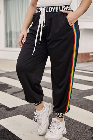 Black Letter Taped Pants