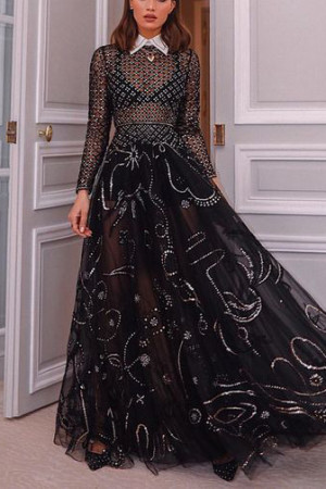 Black See Through Prom Dress