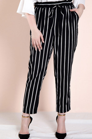 Black Striped Plus Size Pants