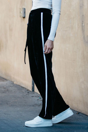 Black Velvet Stripe Side Pants