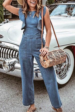Blue Ruffled Denim Jumpsuit