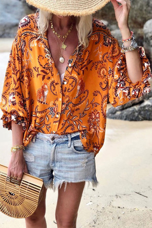 Boho Print V-neck Blouse