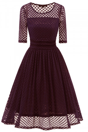 Polka Dot A-line Lace Dress