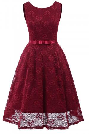 Sleeveless A-line Belt Lace Dress