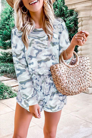 Camouflage Lace-up Romper