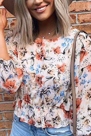 Casual Floral-Printed Blouse