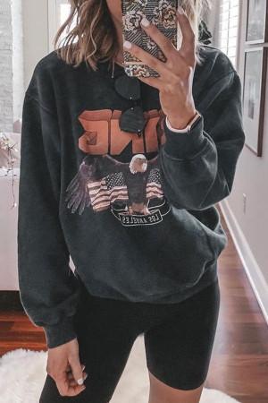 Casual Scoop Print Sweatshirt