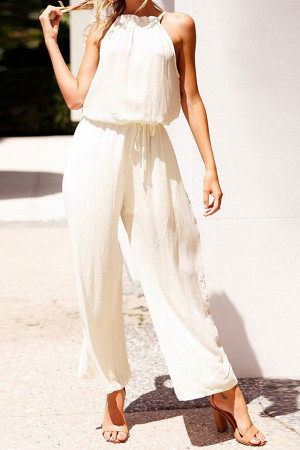 Casual Wide Leg Halter Jumpsuit