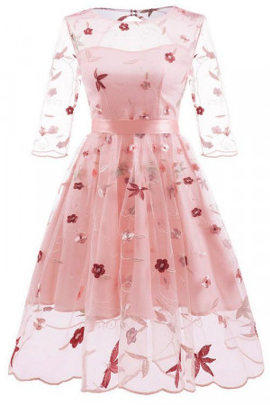 Embroidered Cutout Homecoming Dress