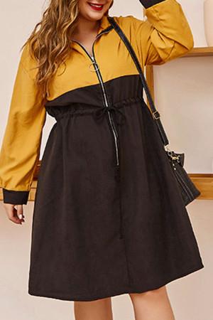 Color Block Front Zip Dress