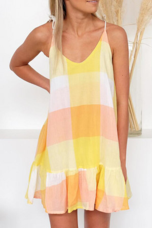 Color Block Hem Ruffle Dress