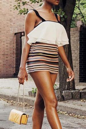 Color Striped Wrap Dress