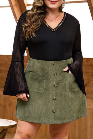 Corduroy Pockets Plus Size Skirt