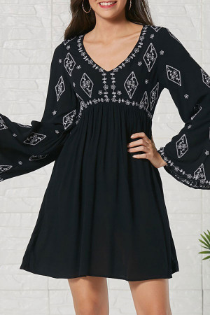 Cutout Back Embroidered Dress