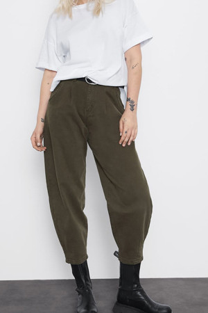 Dark Green Loose Empire Pants