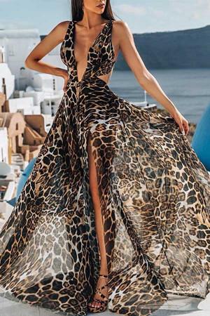 Deep V Leopard Print Dress