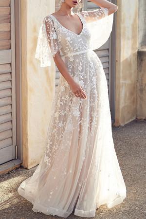 Double V-Neck Lace Dress