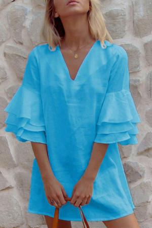 Double V-Neck Ruffled Sleeves Dress