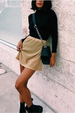 Elastic Waist Gold Mini Skirt