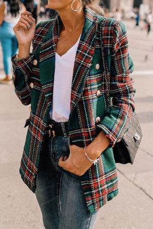 Elegant Plaid Buttons Blazer