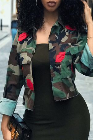Embroidered Camouflage Short Coat