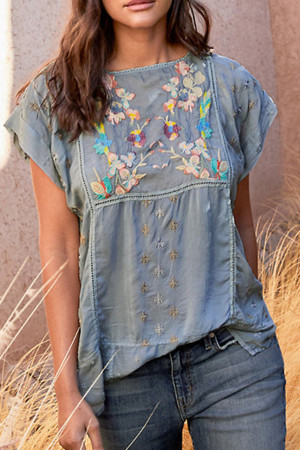Embroidered Casual Blouse