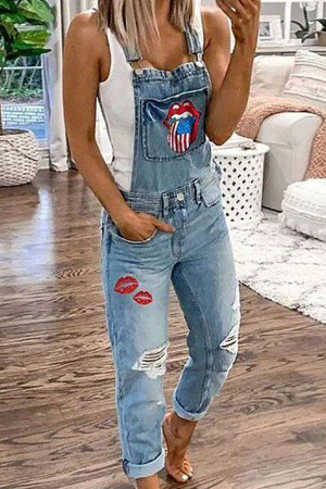 Embroidered Casual Denim Jumpsuit