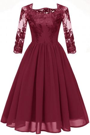 Embroidered Chiffon A-line Dress
