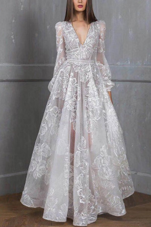 Embroidered Sequins Prom Dress