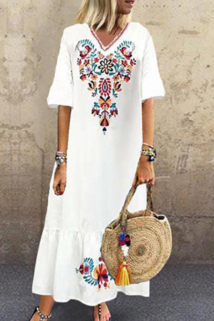 Embroidered V-neck Maxi Dress