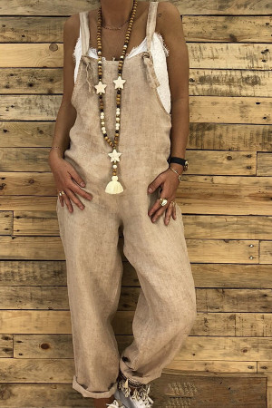 Fashion Sashes Pockets Jumpsuit