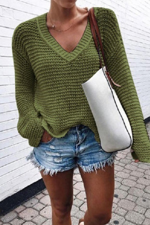 Fashion V-neck Solid Sweater