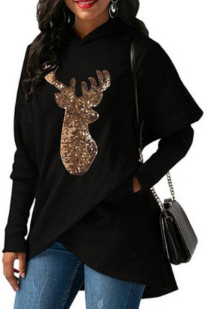 Fawn Sequined Long-sleeved Hoodie