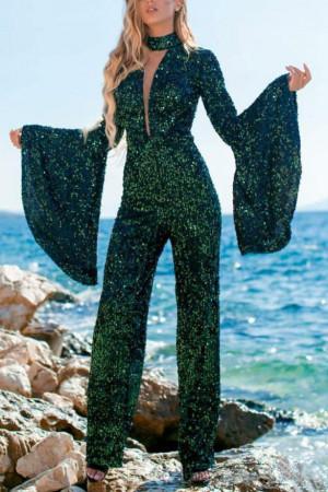 Flare Sleeve Sequins Jumpsuit
