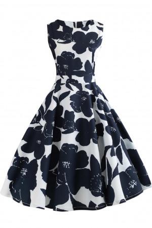 Floral Print Sleeveless Vintage Dress