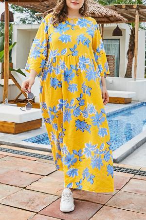 Floral Casual Plus Size Dress