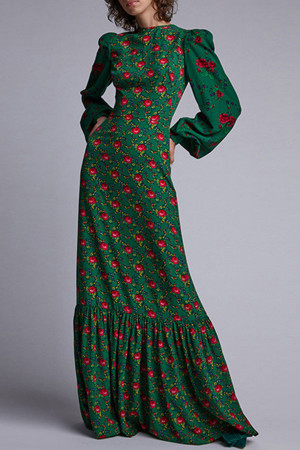 Floral Lantern Sleeve Long Dress