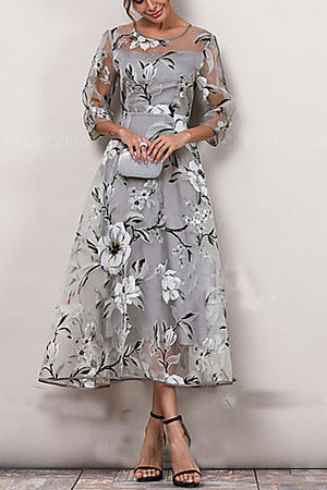 Floral Print Organza Elegant Dress