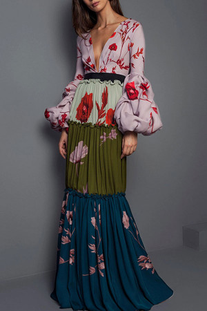 Floral V-neck Pleated Long Dress