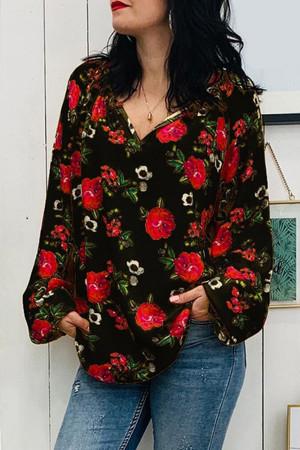 Floral V-neck Printed Blouse
