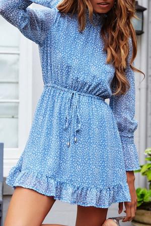 Frill Neck Print A-line Dress