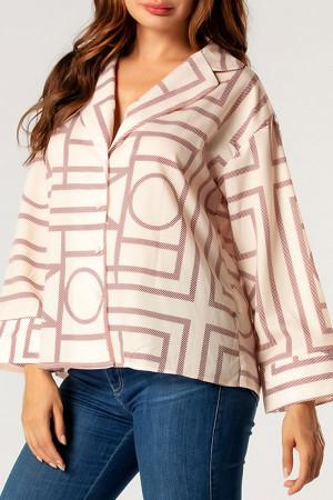 Geometric Loose V-neck Shirt