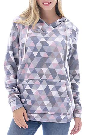 Geometric Pocket Maternity Hoodie