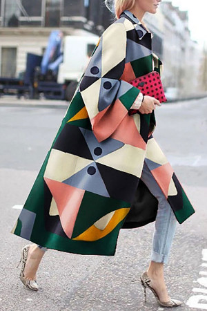 Geometric Print Wool Coat
