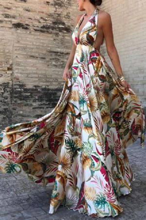 Halter Sleeveless Printed Maxi Dress
