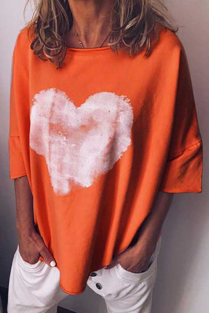 Heart Print Round Neck T-Shirt