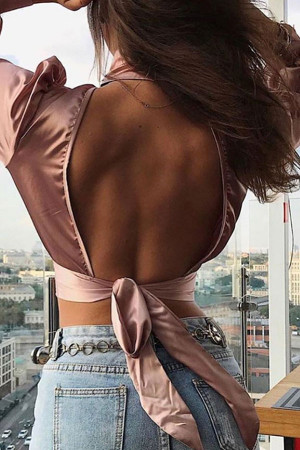 High-Neck Backless Bow Top